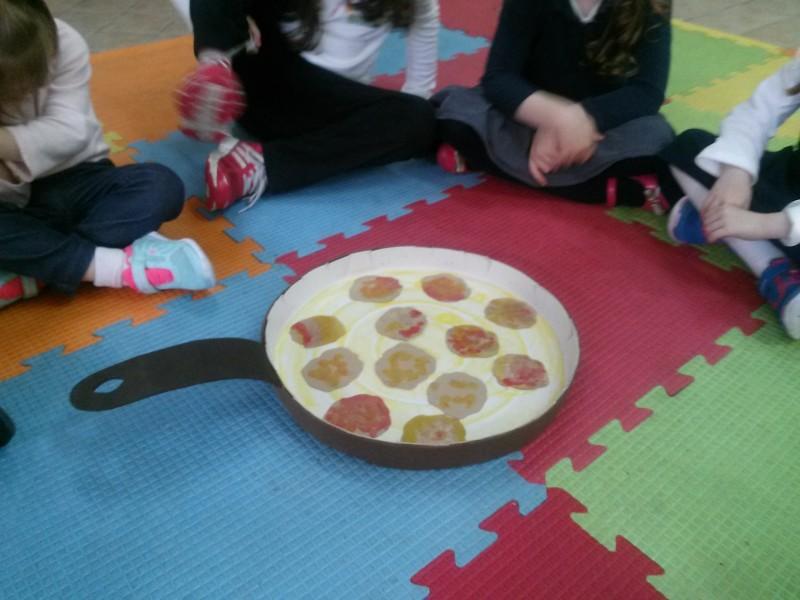 Latkes matching game in the frying pan