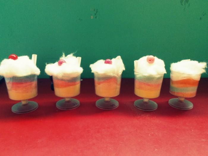 colored sand ice creams