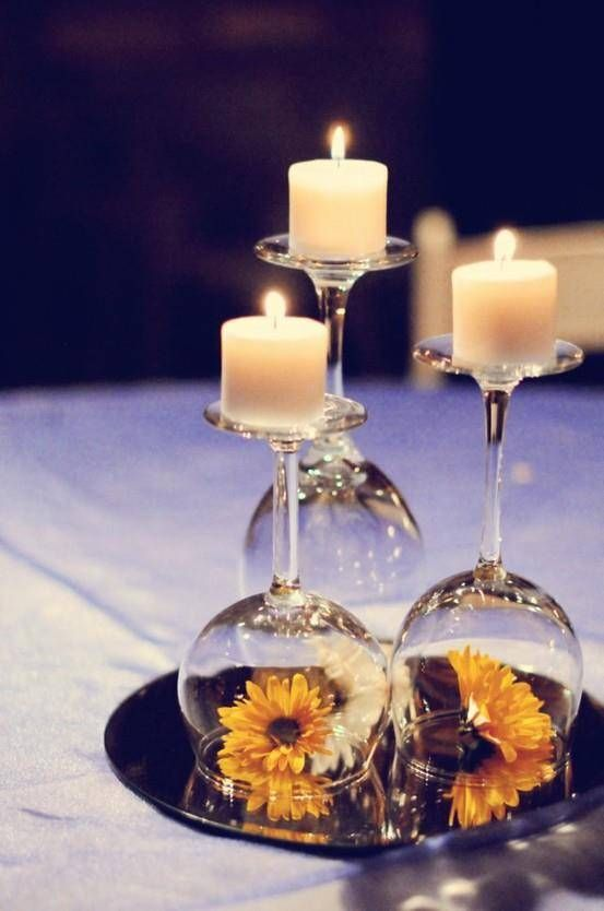 Candle and flower table decor