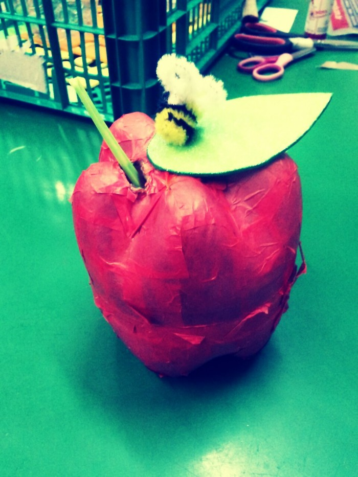 Apple/ honey dish (with 2 halves of water bottle)