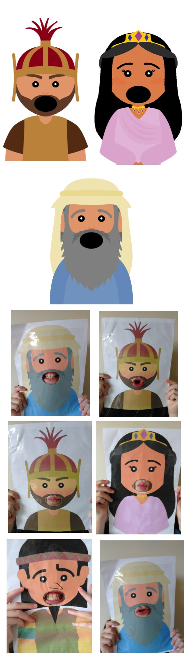 Purim characters with real mouths ; )