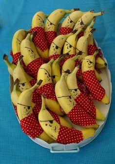 Dress up the bananas : ) For Purim, parties or just for kids to want to eat them