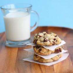 Big, fat, chewy choco chip cookies  •2 cups all-purpose flour •½ teaspoon baking soda •½ teaspoo ...