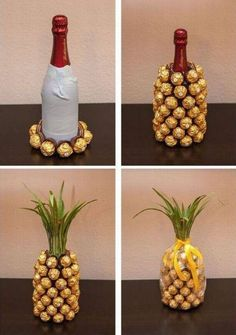 Pineapple with wine and choco truffles
