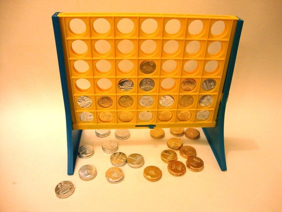 Connect four with chocolate coins