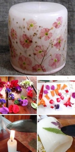 Easy To Make Decorated Candles….. just use a hot spoon too melt the wax a little and push  ...