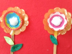 Paper cupcake holder flowers and cotton in middle with a good smell