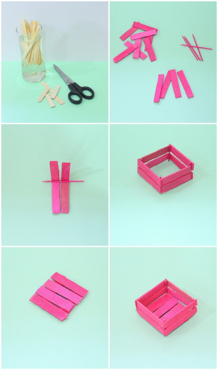 Popsicle mini crates for Shalach manot Soak sticks in water, makes it easier to cut