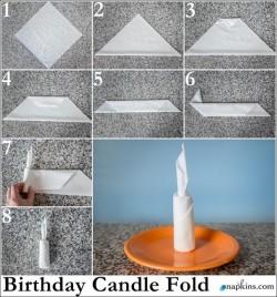 Candle napkin fold