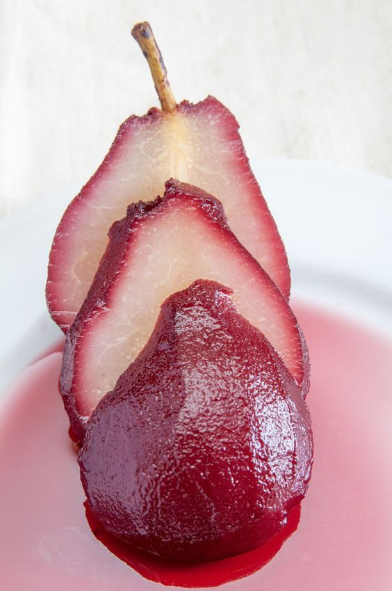 Wine or grape juice pears (cook pears in grape juice/wine)