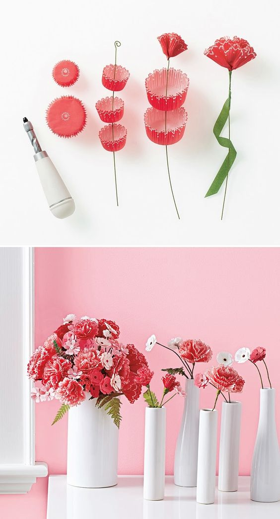 Cupcake lining flowers