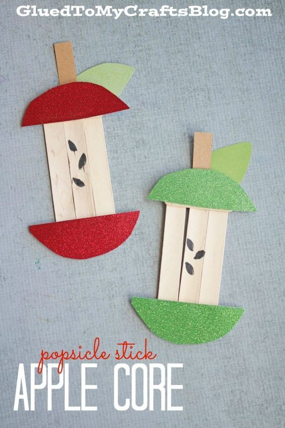 Popsicle stick apple core