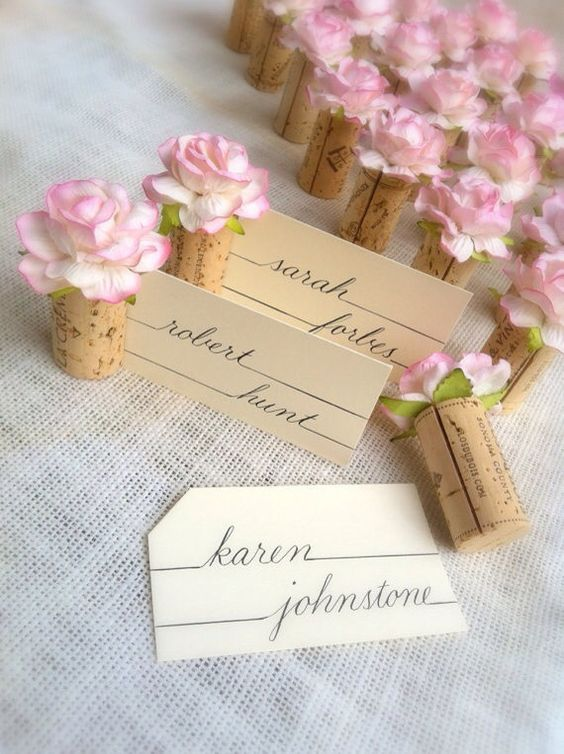 Shavuot flower-cork place cards