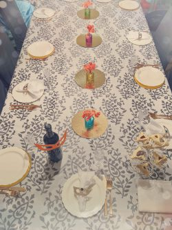 Table deco with mask napkin rings